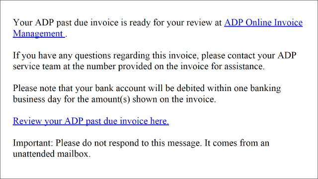 ADP Spam Email - Past Due Invoice