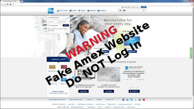 Phishing Spam Alert - Fake American Express Website - September 2014