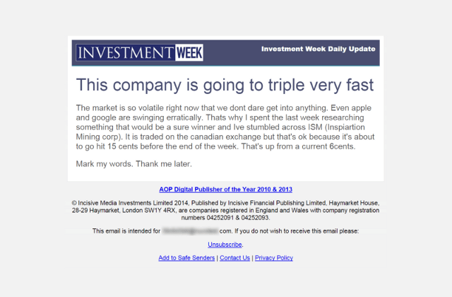 Penny Stocks Spam Email - Inspiration Mining