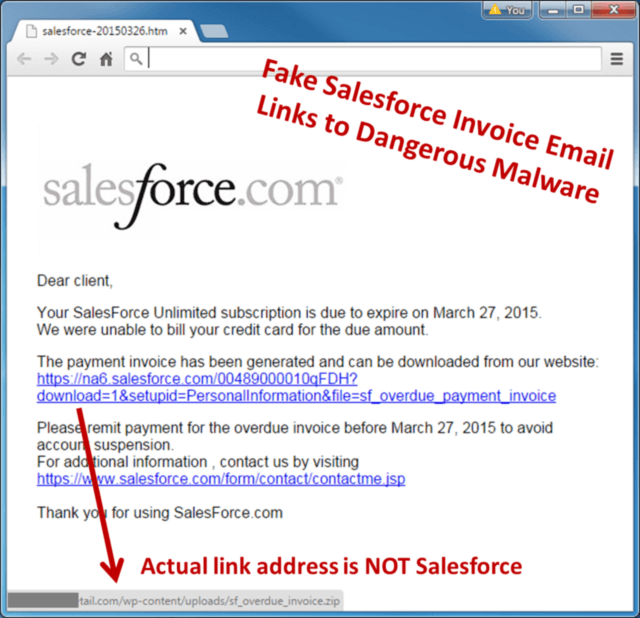 Salesforce Spam Email