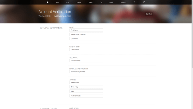 Apple Phishing Scam Fake Account Verification Form