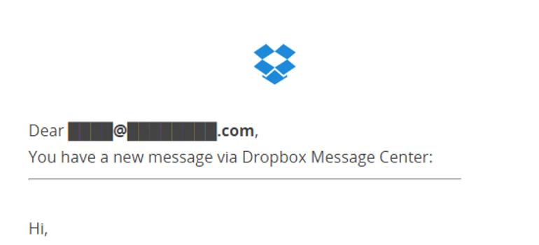 Fake Dropbox Email Phishing Scam Alert - April 2017