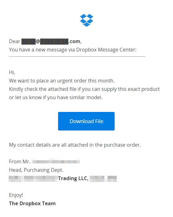 Fake Dropbox Email Phishing Scam Alert April - Create a fake invoice for service business
