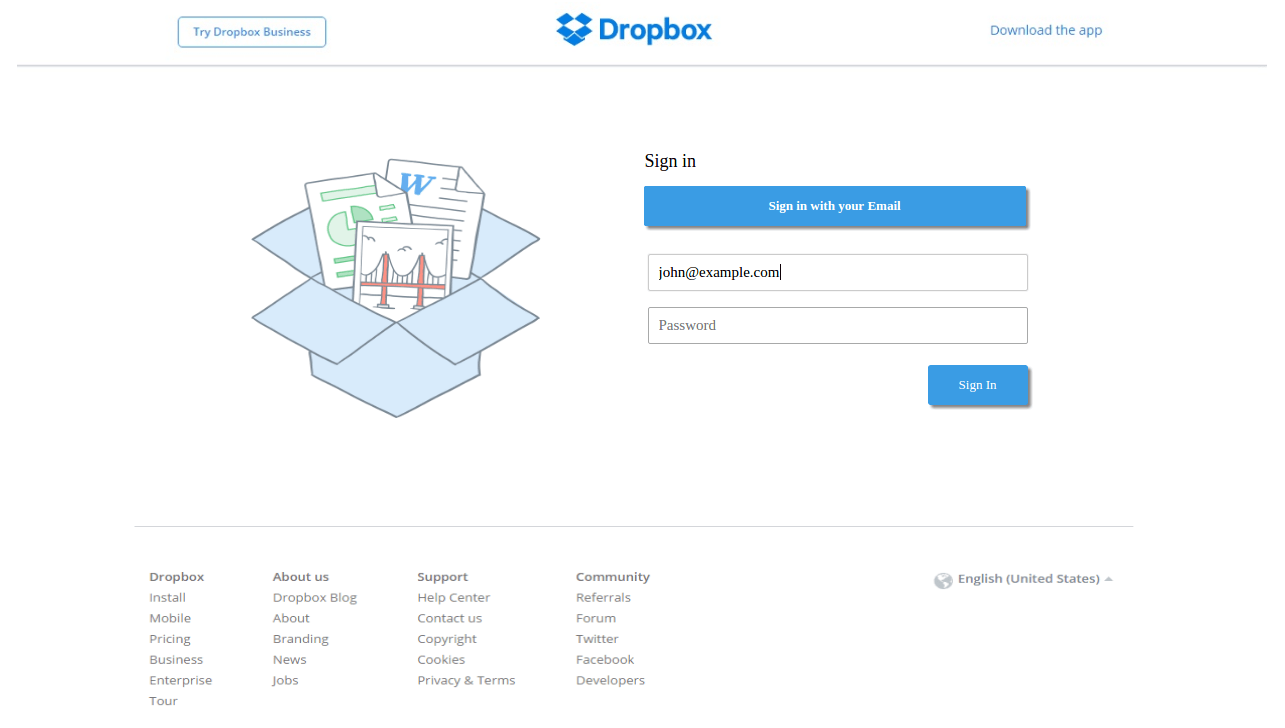 Phishing Login Page for Fake Dropbox Message Center Email