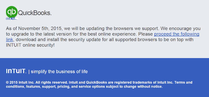 Email Virus Claiming to Be From Intuit Quickbooks for a Browser Update